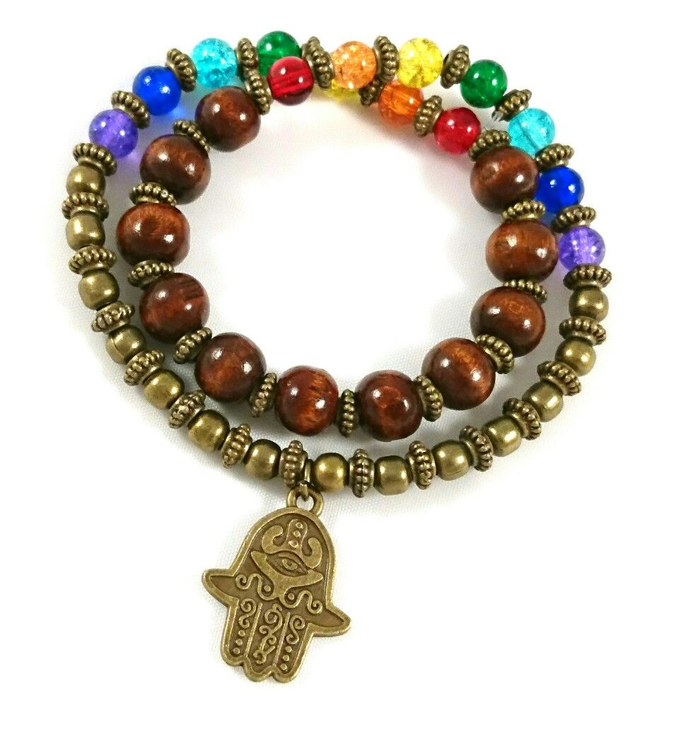 Crystal Beads Hamsa Hand Charm Bracelets & Wrap Beads Bracelets for Women Jewelry vhKRMEO