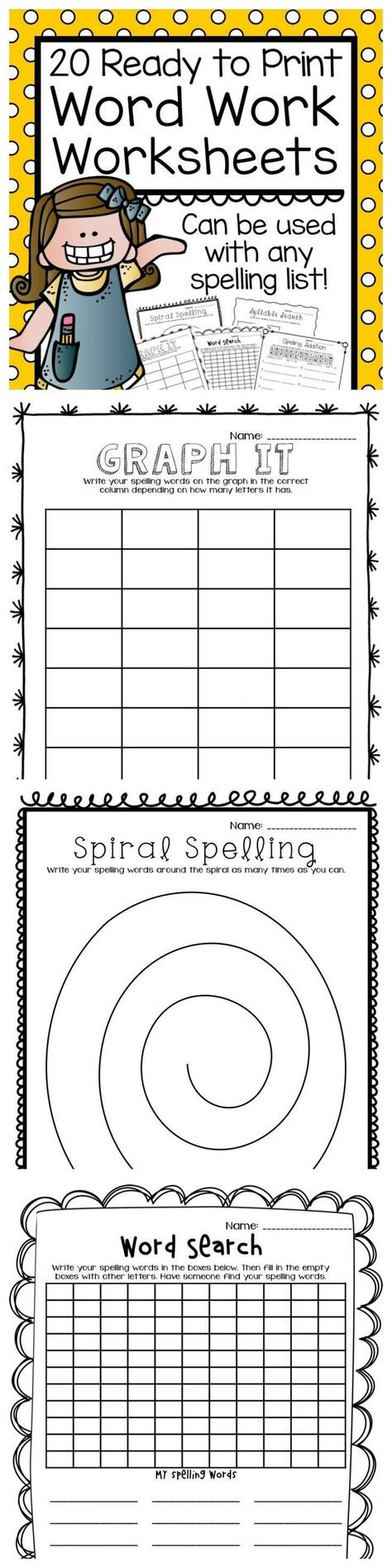 20 Ready To Print Word Work Worksheets that can be used with any ...