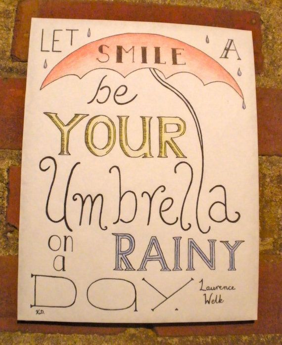 Rainy Day Hand Lettered Typography Quote by CornerChair on Etsy, $22.99