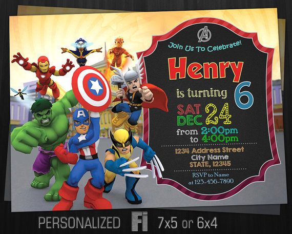 The Avengers Invitation The Avengers Birthday Party The