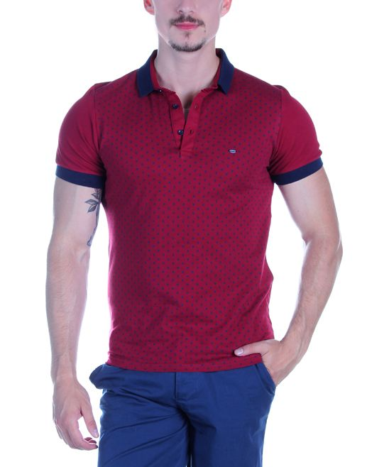 Claret Red & Navy Pin Dot Polo