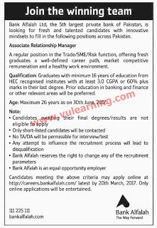 Bank Alfalah Jobs  For Associate Relationship Managers Apply