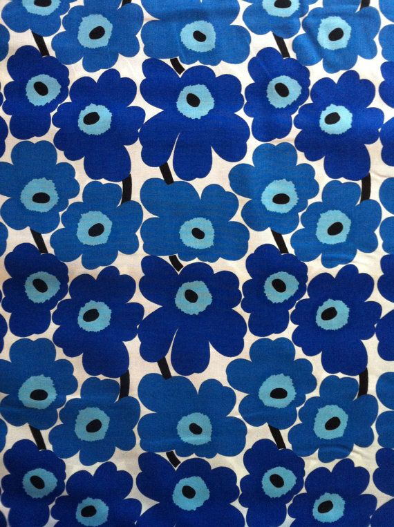 finnish marimekko mini unikko 100 cotton fabric in blue. Black Bedroom Furniture Sets. Home Design Ideas