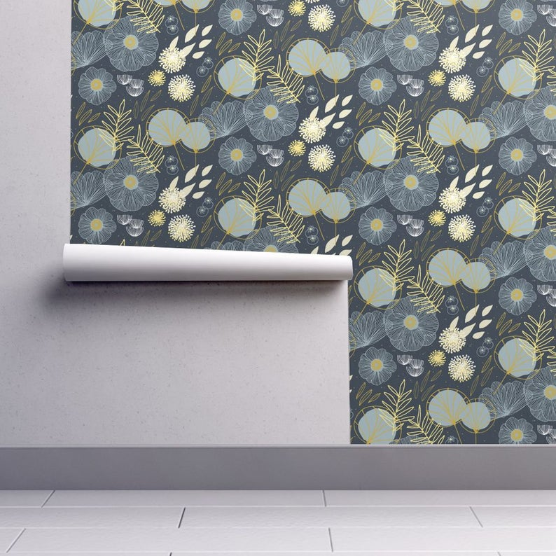 Plants Fresh Wallpaper Spring Floral Navy Black By
