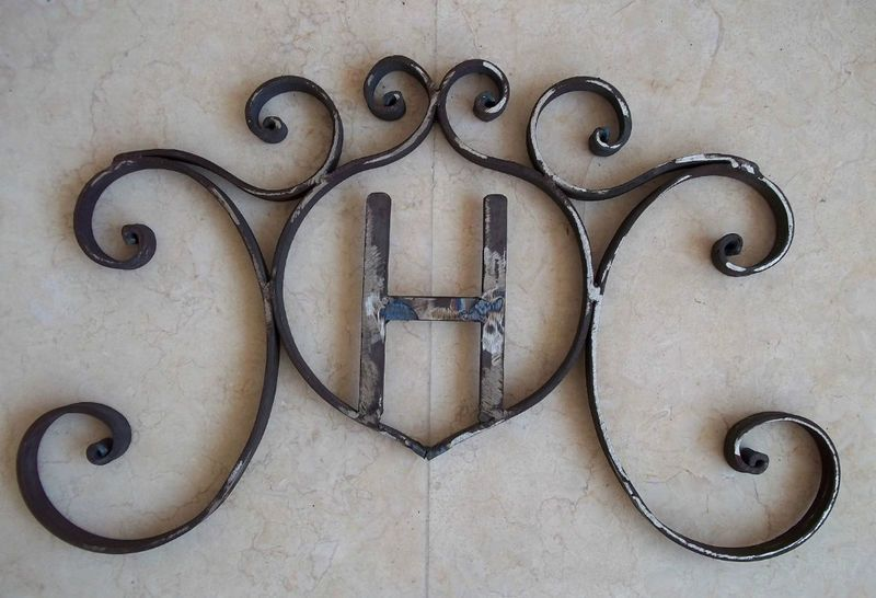 Details About Rustic Hand Forged Wrought Iron Monogram Decor