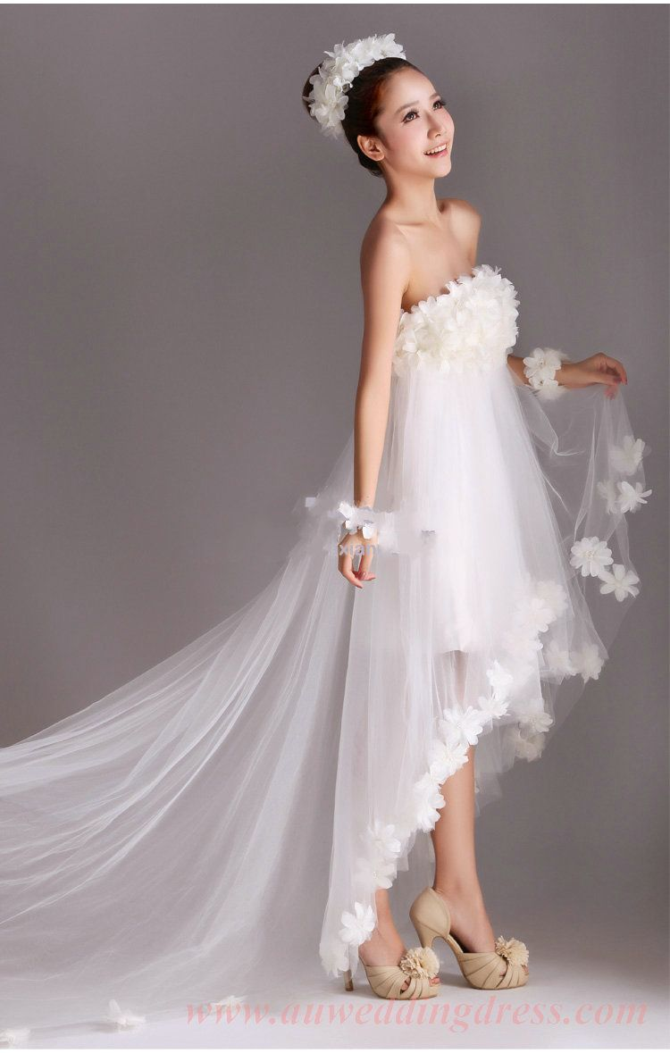 High low wedding dresses high low strapless sweep train