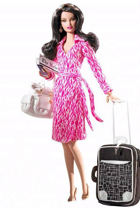 And One More The Traveler Barbie With A Printed Wrap Dress A Beautiful White Tote Bag A Black Carry On She S Stylis Barbie Dolls Barbie Fashion Fashion