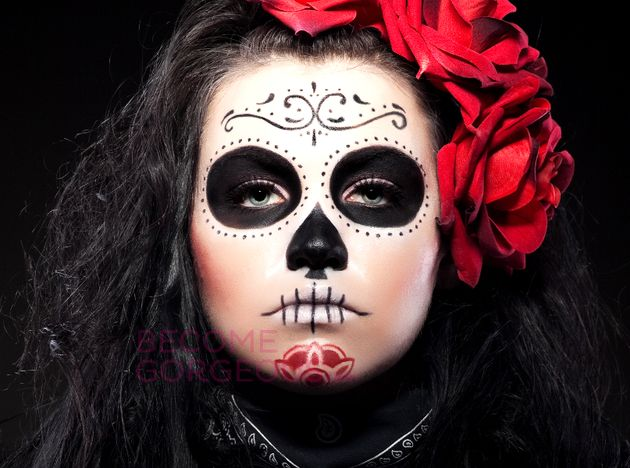 sugar skull face paint simple yet pretty sugar skull makeup for halloween - Skeleton Face Paint For Halloween