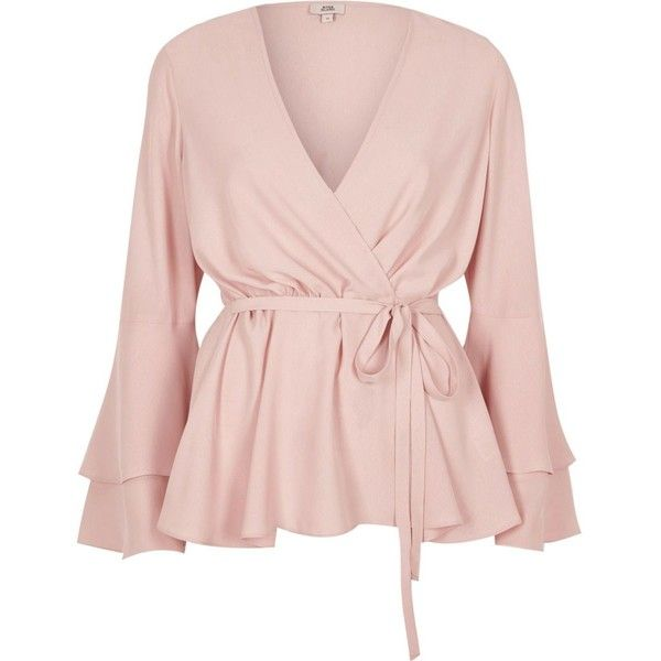 5bd21f7bd6964f Light pink frill sleeve wrap blouse (1 325 UAH) ❤ liked on Polyvore  featuring tops