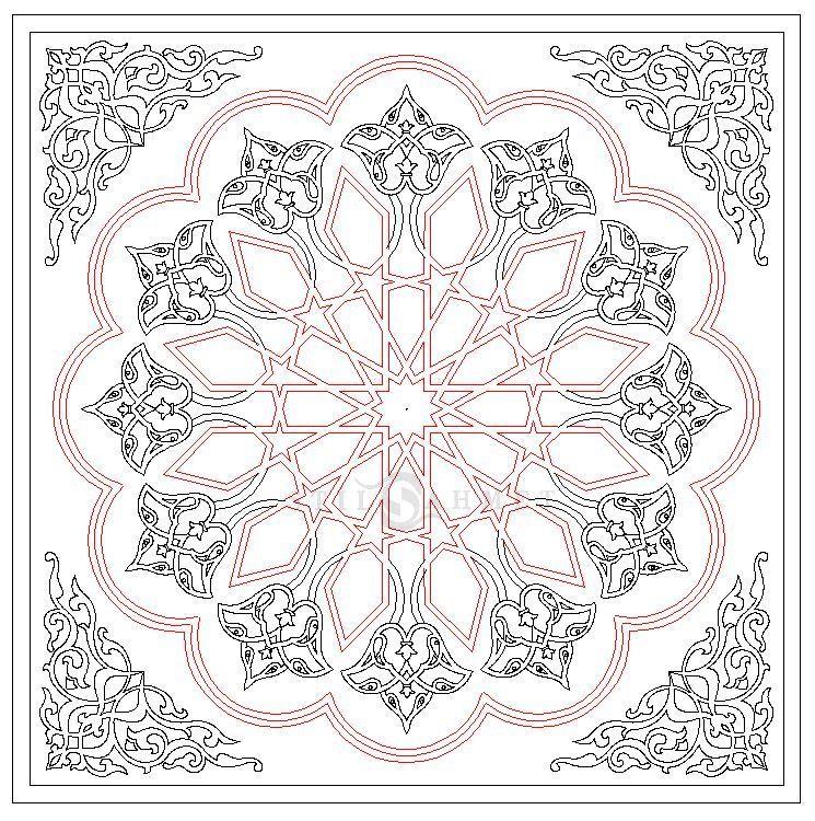 Selcuklu Yildizi 12 Rosette Elhamra Stilahmet Osmanli Desen Selcuklu Desen Desenler Tezhip Barok Desen