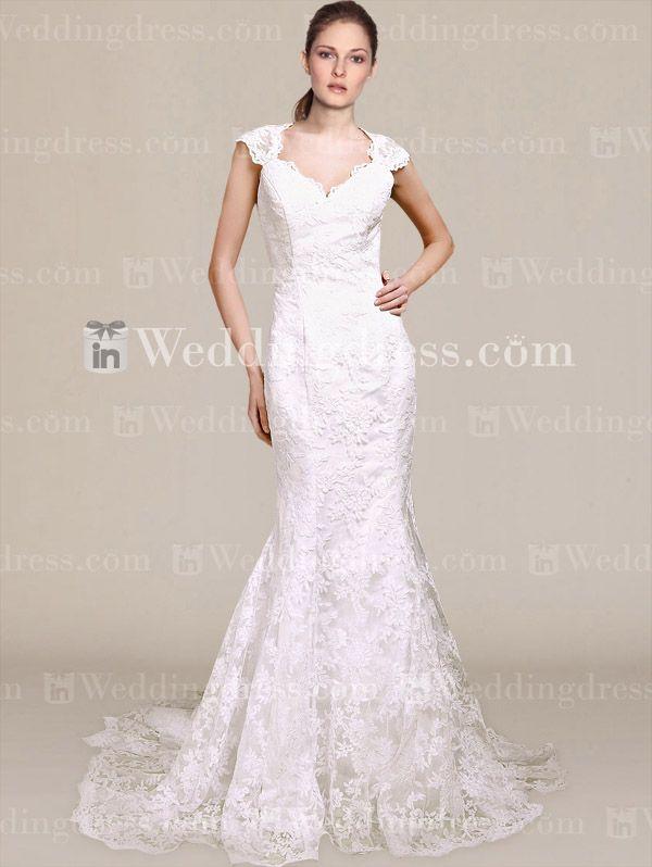 Sexy Lace Mermaid Wedding Dress with Keyhole Back DE436N   Pinterest