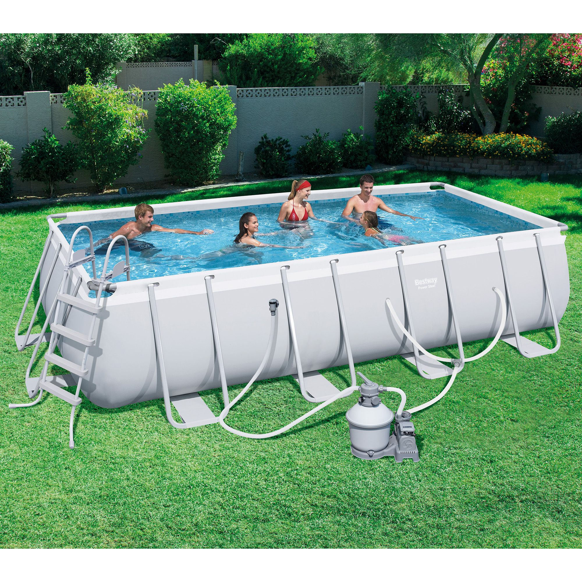Bestway 18ft X 9ft X 48in Rectangular Frame Above Ground Pool With
