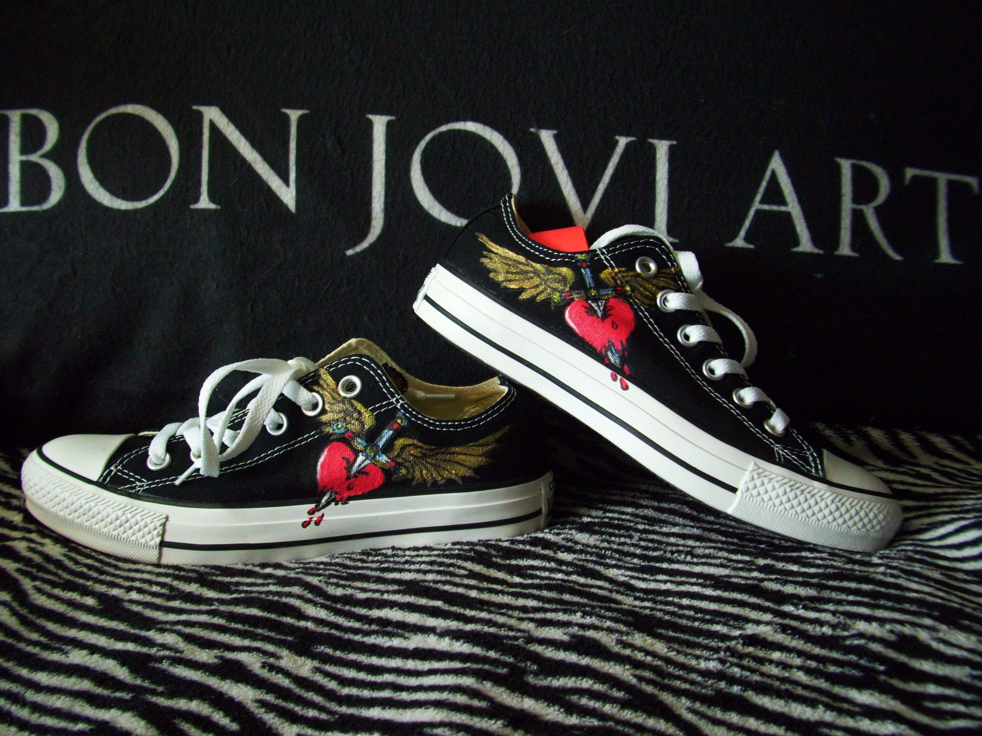 f184f3ab21c91 Hand painted bon jovi converse shoes | My Bon Jovi Art Paintings ...