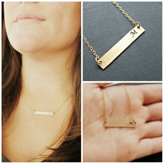 Personalized Gold Bar Necklace Womens Name Monogram Jewelry Plate