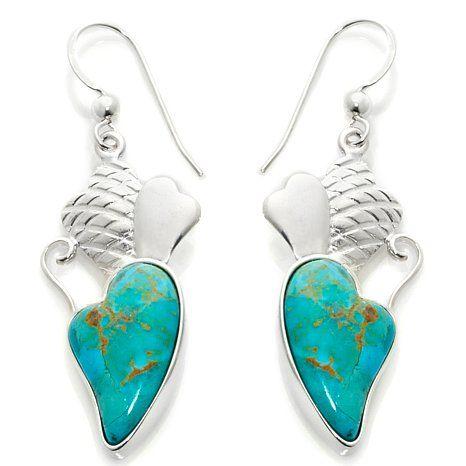 Jay King Triple Heart Turquoise Drop Earrings