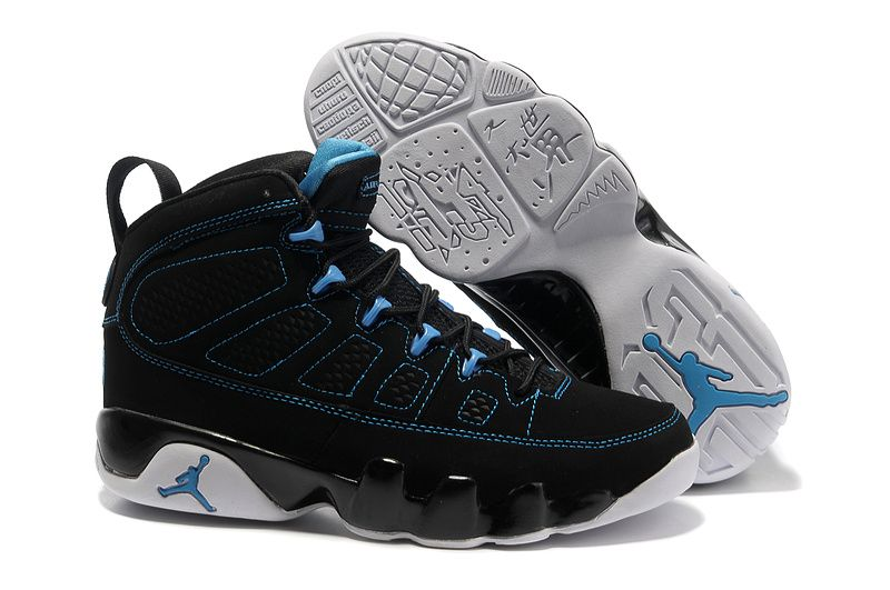b27702925cd0c5 Jordan 9 black blue Basketball Shoes
