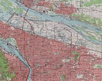 Vintage Portland Oregon 1961 Us Geological Survey Map Columbia - Columbia-river-map-us