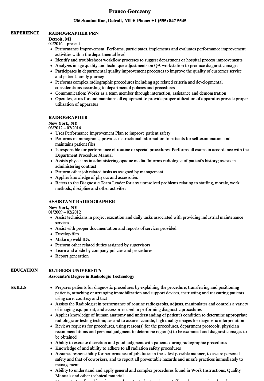 X Ray Resume Examples Resume Templates Radiology Technologist Resume Examples Radiology