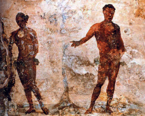 2nd - 3rd century depiction of Adam and Eve from Catacombs of San Gennaro (St. Januarius) Napoli, Italy