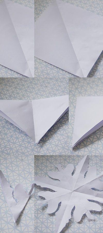 diy scherenschnitt schneeflocke aus papier mit kinder basteln zu weihnachten weihnachtsdeko. Black Bedroom Furniture Sets. Home Design Ideas
