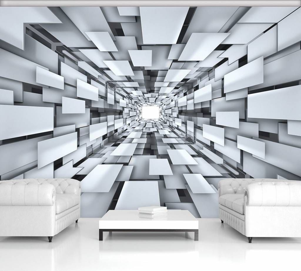 Vlies Wandbild Tapeten Fototapete Tunnel 3d Grau Abstraktion Kunst