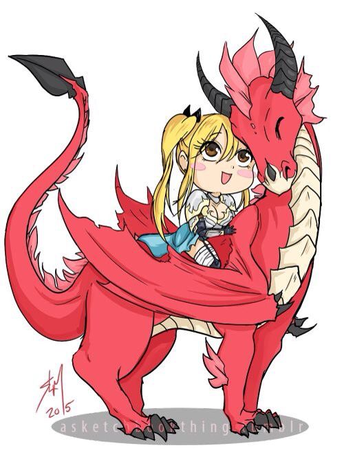 Nalu fan art Lucy Heartfilia and Natsu Dragneel as knight and dragon