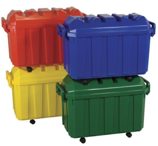 Plastic Storage Containers 4 Pack Set Rolling Toy Box Organizer Trunk Bin  Wheels