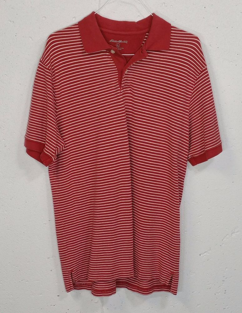 ca432e25 Eddie Bauer Mens Salmon Red Striped 100% Cotton Short Sleeve Polo Shirt LT  Tall