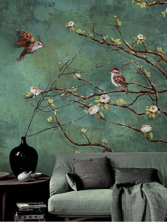 Vintage dunkle Vögel und Blumen Tapete, Natur Wandbild, Blumen Wandkunst, Wandaufkleber, dunkelgrüne Wand Sticke