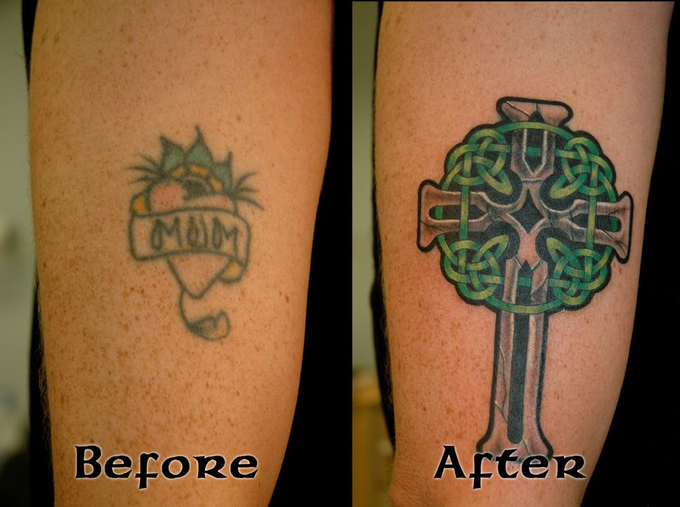 Cover Up Tattoo Designs | celt cross cover before after ...