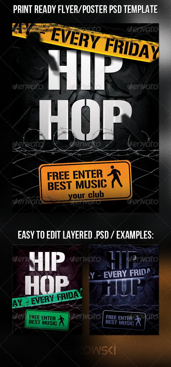 Hip Hop Flyer Rap concert, Hip hop and Print templates - hip hop flyer template