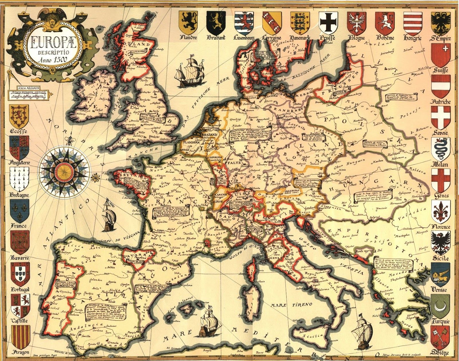 Map Of Europe 1500 Old Maps Pinterest Map Europe And