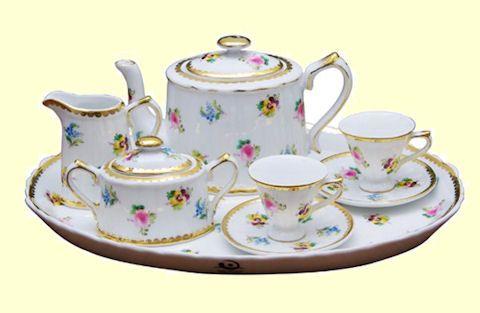 child girl 39 s tea set porcelain doll tea sets child 39 s collectible miniature tea set tea time. Black Bedroom Furniture Sets. Home Design Ideas