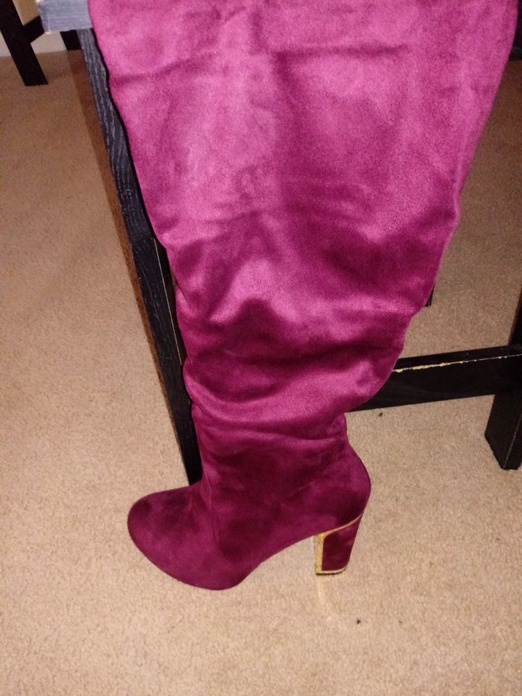 b5036c60015 Burgandy Suede  Knee High  Wide width  wide to extra wide Calf Boots   fashion  clothing  shoes  accessories  womensshoes  boots (ebay link)
