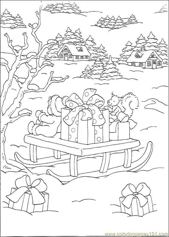 Coloring Pages 101 Christmas Doll Sitting On A Sleigh Full Of Wrapped Gifts With More Gifts S Ausmalbilder Weihnachtsfarben Weihnachtsmalvorlagen