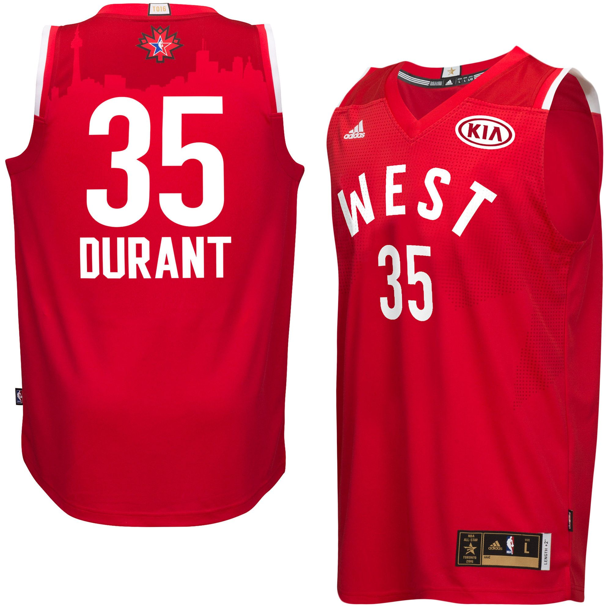 41a946b135b Men s NBA Western Conference Kevin Durant adidas Red 2016 All-Star Game Swingman  Jersey