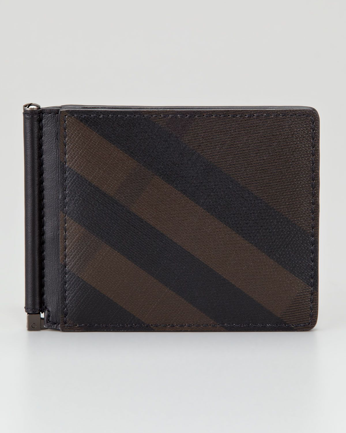 30473f3b1c5d Burberry Smoked Check Leather Money Clip Wallet | Men's Fashion ...