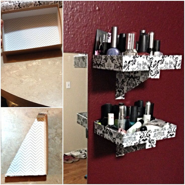 Genial Diy Cardboard Makeup Shelf | DIY Cardboard Shelf. Two Boxes, Cut The Corner  Off