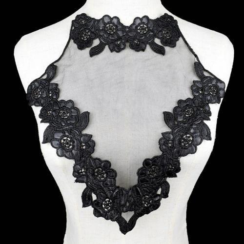 Floral Corded Embroidery Trim Black Motif Dress//Top Applique 1 PC