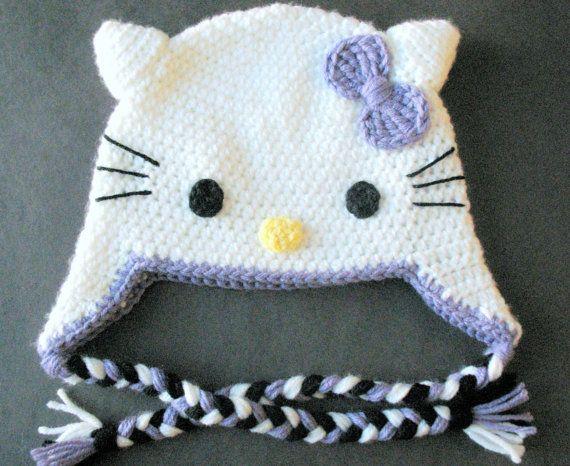 Hello Kitty Hat Hand Crocheted Winter Hat Pinkpurpleclassic