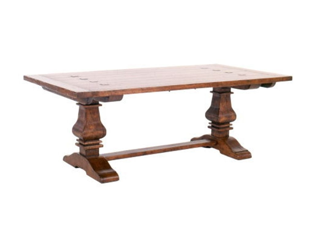 Tahoe Trestle Table With Iron Support Stretcher And Turnbuckle - Trestle dining room table