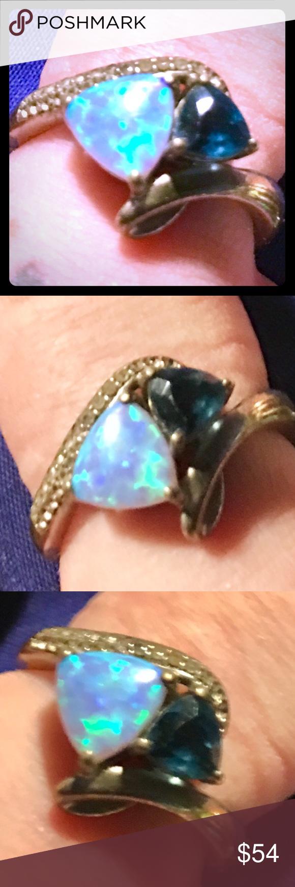 Blue Fire Opal London Blue Sterling Silver Ring Fierce Blue Fire Opal Deep London Blue Gemstone Set In A Unique Whit Fire Opal London Blue Topaz Silver Rings