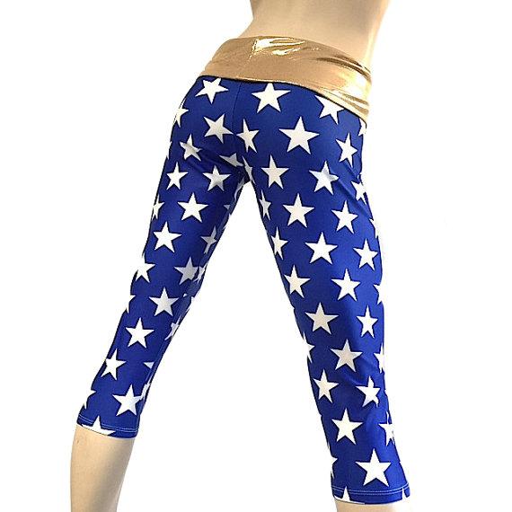 f457e7057515b Super Hero Pants - Blue Stars - Gold - Yoga Pants - Workout Clothes - Hot  Yoga Capri - High Waist -