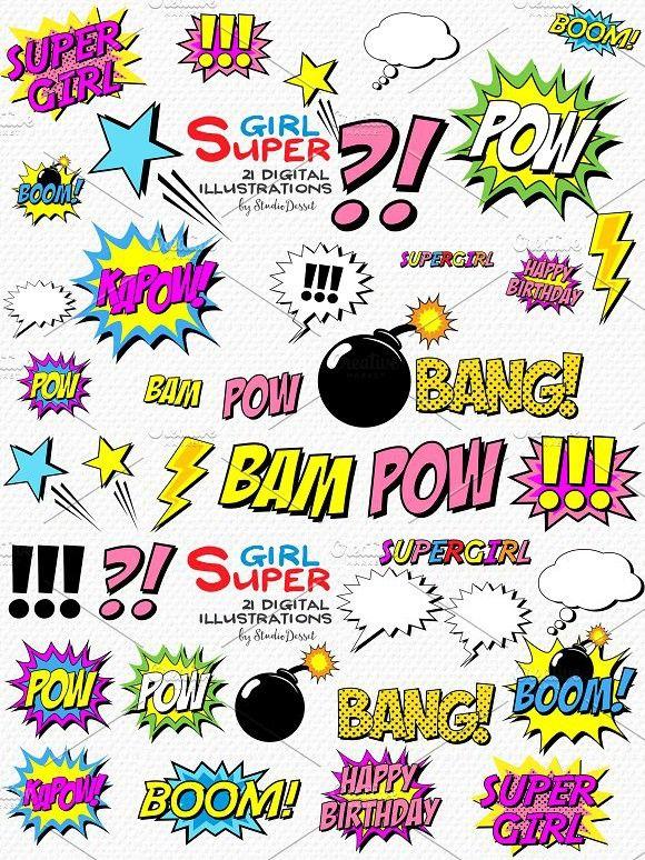 Super Girl - Comic Book Cliparts  Wedding Card Templates