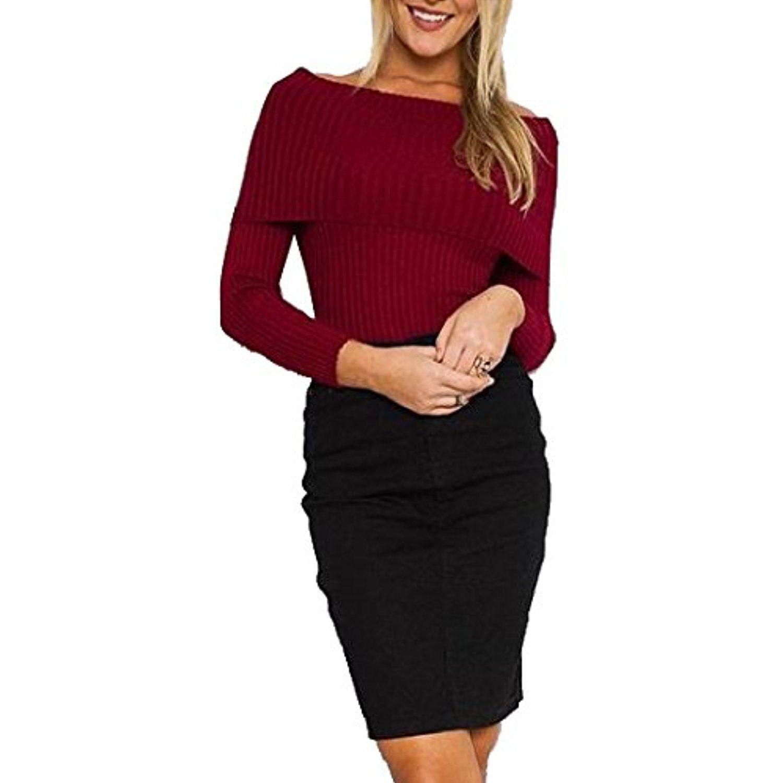 Xtx womenus long sleeve off shoulder sweaters knitting tunic top