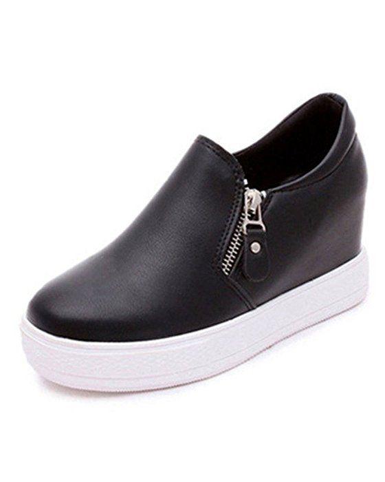 b5ea9c31 Minetom Mujer Otoño Invierno PU Cuero Botas Botines Plataforma Confortables  Suela Gruesa Zapatos (EU 37, Negro)