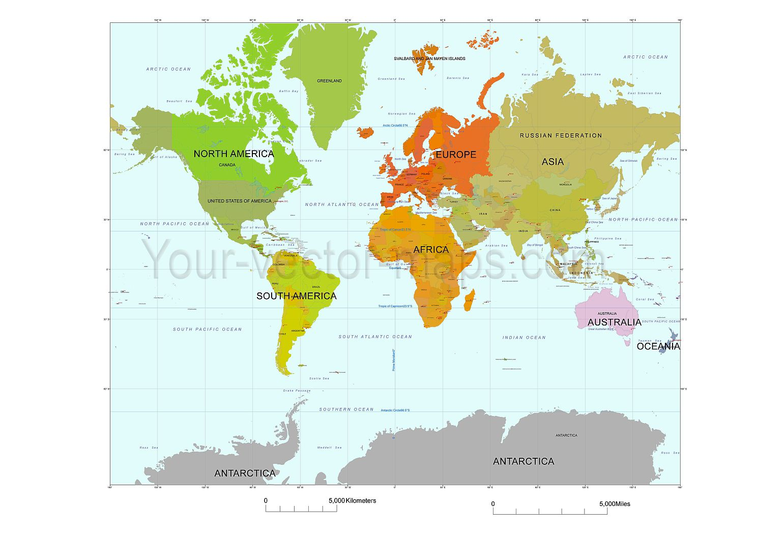Mercator world map. Colored by continents. Original vector map | Map ...