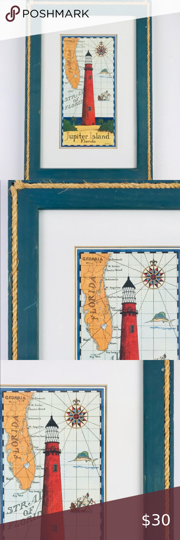 Framed Nautical Jupiter Island Florida Light House In 2020 Stripe Wall Art Feather Wall Decor Resin Art Canvas