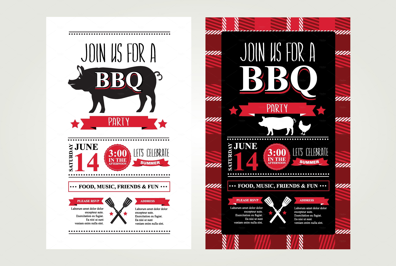 2 Barbecue invitations by Barcelona Design Shop on Creative Market ...