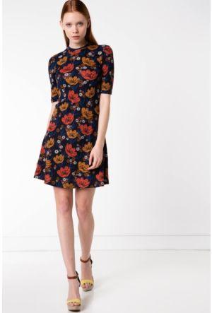 Defacto Kadin Lacivert Desenli Elbise Elbise Elbise Modelleri The Dress